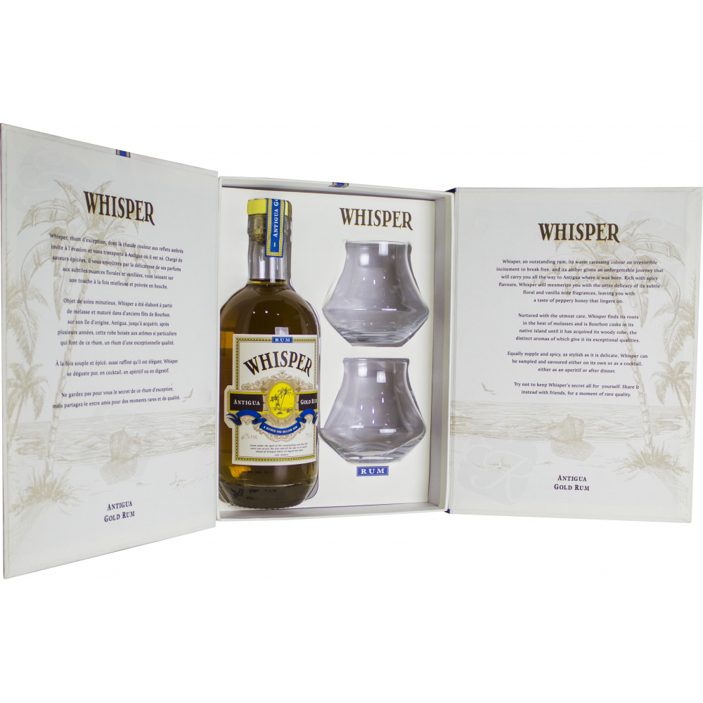 coffret whisper antigua gold rum verres de d gustation rhum d 39 a. Black Bedroom Furniture Sets. Home Design Ideas